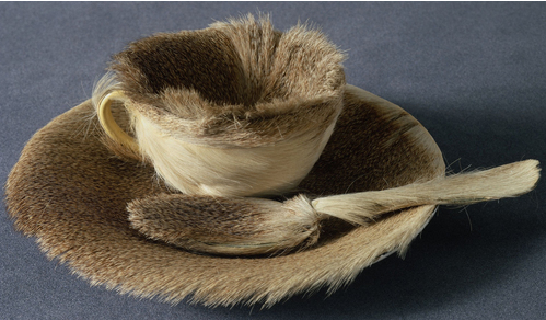 Fur-covered cup