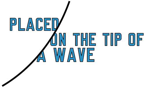 Placed on the tip of a wave