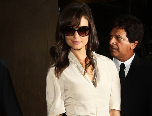 Katie Holmes is seen outside of the Calvin Klein Spring 2011 fashion show ...